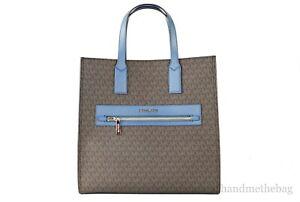 Michael Kors Kenly Large Coated Canvas NS Tote Shoulder Handbag Crossbody Bag