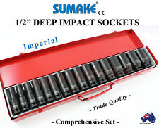 "1-2"" DR IMPACT SOCKET SET SUMAKE JAPAN CHROME MOLY COMPREHENSIVE 16 PC SPECIAL"