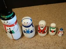 Snowman Winter Christmas Nesting Dolls 5 Pcs