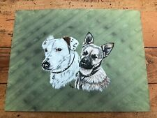 More details for watercolor on board of two dogs ! by artist caroline dawes 1986