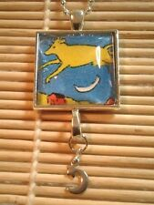 "Cow Jumping from ""Goodnight Moon"" Silver Glass Pendant w/moon charm US Seller"