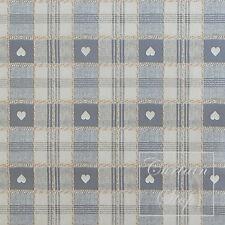 Grey Cream Hearts Check Wipe Clean PVC Vinyl Oilcloth Tablecloth, 200x137cm