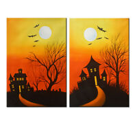 Halloween Abstract Oil Painting Large Original Modern Art Wall Home Decor Canvas