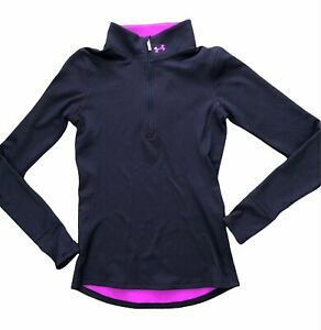 Under Armour Women's Black and Orchid Purple 1/4 Zip Activewear WarmUp Jacket XS