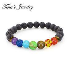 7 Chakra Bracelet Natural Yoga Healing Lava Stone Crystal Reiki Energy Balancing