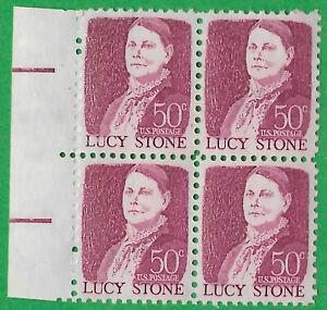 USA-United States 1968 50c Postage Lucy Stone marginal block of 4 Scot 1293 MNH.
