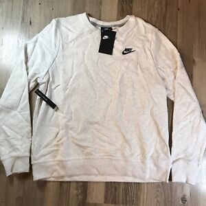 Nike Womens Athletic Sweater Club Crew Neck Sweat Fleece Heather Grey White New!