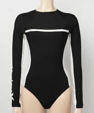 HURLEY Women's QD GET BLOCKED LS Body Suit - Black/White - Medium - NWT