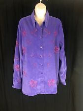 Koret Women's Size XL Long Sleeve Purple Button Up Floral Multi Embroidery EUC