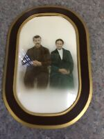 Early Framed Photo With Convex Glass And Tinted Photo