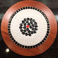 "Mid Century Danish Modern Tile Trivet  Walnut  red black white Mosaic round 10"""