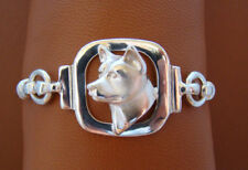 Small Sterling Silver Akita Head Study Bracelet