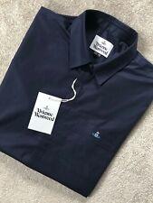 VIVIENNE WESTWOOD MEN'S NAVY BLUE S25DL0412 LOGO S/S SHIRT TOP - 56 - NEW & TAGS