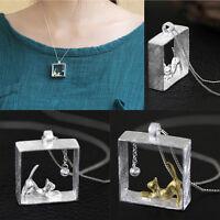 3D Katze Damen Halskette Anhänger Silber Gold Plated Kette Schmuck Anhänger