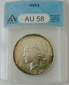 1925 Peace Dollar  / Anacs AU58  Great Toning