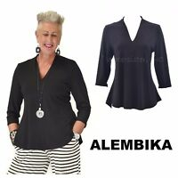 ALEMBIKA T527 Jersey  MAZZY TOP  3/4 Sleeve Curve Hem Fitted Resort 2018  BLACK
