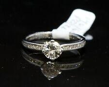 Platinum Gold Single Diamond ring with Diamond Shoulders, 0.47ct Centre Diamond