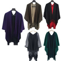 Women Winter Knitted Cashmere Poncho Capes Shawl Cardigans Sweater Coat Warm