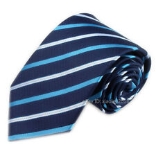 Mens Fashion Wedding Tie Slim Type Neckties Blue Navy White Striped Ties for Men