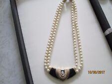 "16"" vintage 2 strand Faux Pearl Necklace Gold tone Black Enamel Rhinestone"
