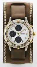 Fossil Watch Mens Chrono Stainless Silver Gold 30m Leather Brown White Quartz