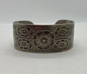 "Salisbury Pewter Floral Engraved ""October"" Cuff Bracelet"