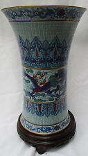 LARGE CHINESE CLOISONNE VASE WITH BLUE DRAGONS + WOOD DISPLAY STAND