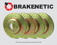 [FRONT + REAR] BRAKENETIC SPORT Cross DRILLED Brake Disc Rotors BSR78402