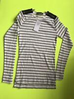 Ralph Lauren womens  crewneck cotton double zip top striped white/blue UK 0-2XXS