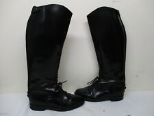 Regent Black Leather Lace Zip Riding Boots Womens Size 6 UK 8 US Made in England