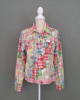 CHARTER CLUB Women's Patch Work Pink-Green-Blue Plaid Print Button Jacket Sz.XL