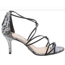 Schutz Tori Ann SNAKE-PRINT Heeled Strappy Sandals 8.5 Black white Animal Print