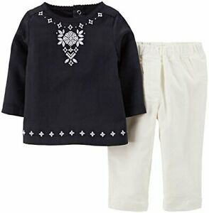 Carter's girl's 12 month black embroidered tunic white corduroy pants set