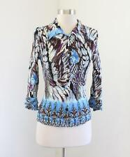 Alberto Makali Blue Brown Abstract Print Crinkle Button Front Top Blouse Size S