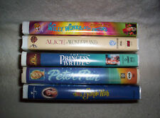 5 VHS lot kids fantasy Alice in Wonderland Peter Pan Willy Wonka A Simple Wish +