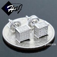 Diamond Iced 3D Screw Back Stud Earring*96 Men Women 925 Sterling Silver 5Mm Lab