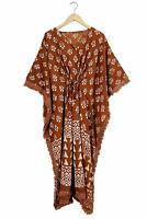 Women Brown Cotton Kaftan Cover Up Short Dress Kaftan Tunic Top Boho Maxi Gown