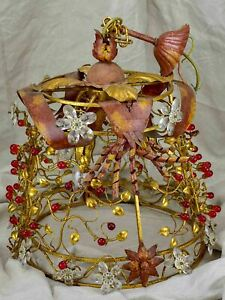Mid-century chandelier with flowers and red drops