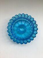 Vintage Sky Blue Glass Hobnail Trim Taper Candle Holder Victorian