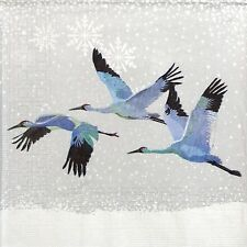4x Paper Napkins -Snowfall Cranes- for Party, Decoupage