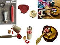 Wax Sealing kit or Wedding Love Heart Stamp Wax beads jars Spoon  & Melting Pots