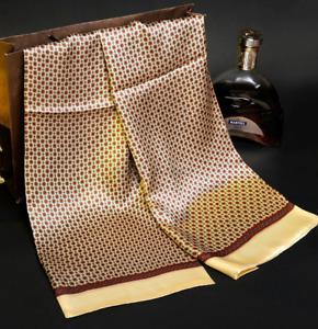 100% Mulberry Silk Satin Scarf men women neckerchief Shawl Wrap beige MY128-24