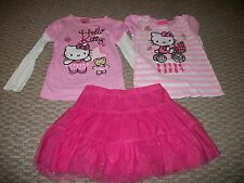 HELLO KITTY CAT TOPS SONOMA PINK TUTU SKIRT GIRLS CLOTHES SET SZ 6 6X 7