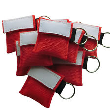 100 X  First Aid CPR Mask CPR AED For Training Keychain Red Elysaid CPR