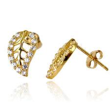 (Cz) Stud Push Back Stud Earrings 14k Yellow Gold Leaf Cubic Zirconia