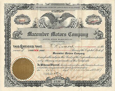 CALIFORNIA 1917 Macomber Motors Company Stock Certificate Signed by Macomber