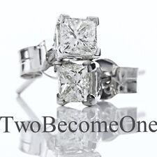 Handmade 0.80ct F VS2 Princess Cut Diamond Stud Earrings in 18ct White Gold