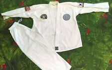 VINTAGE PRO FORCE TAEKWONDO TAE KWON DO WHITE UNIFORM - SHIRT&PANTS SIZE 3