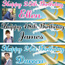 2 Personalised Birthday banner Photo Adult Champaign Party Poster 21st 18th 50th