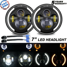 """Pair 7"""" Inch Round LED Headlight Hi/Lo Beam Halo Projector For Kenworth T2000"""